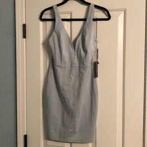Lulu's Light Blue Deep V Body Con Dress
